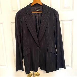 Zara Pinstripe Blazer Jacket Wool Blend